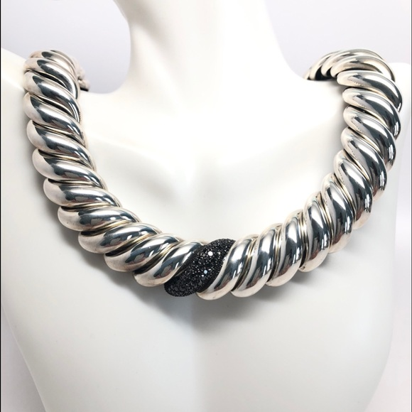 David Yurman Hampton Black Diamond 19mm Necklace